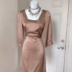 Ellie Tahari Tan Silk Belted Dress